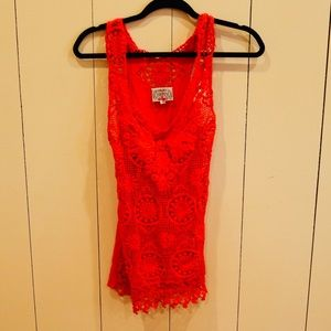 BARASCHI Red Lace Tank from ANTHROPOLOGIE